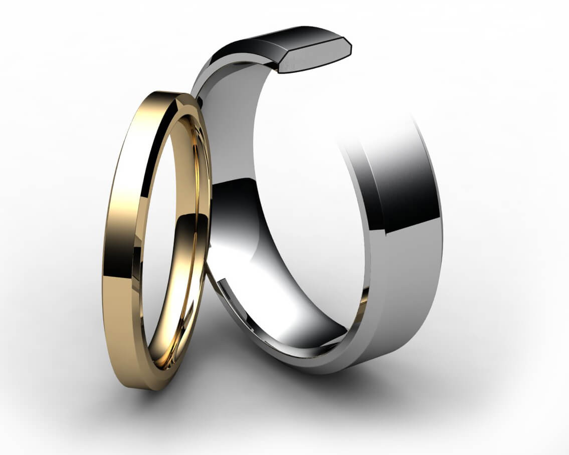 Palladium Chamfered Edge Wedding Ring