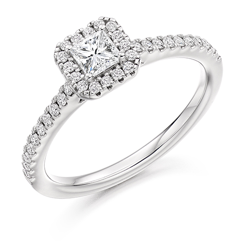 Princess Cut Halo Engagement Ring