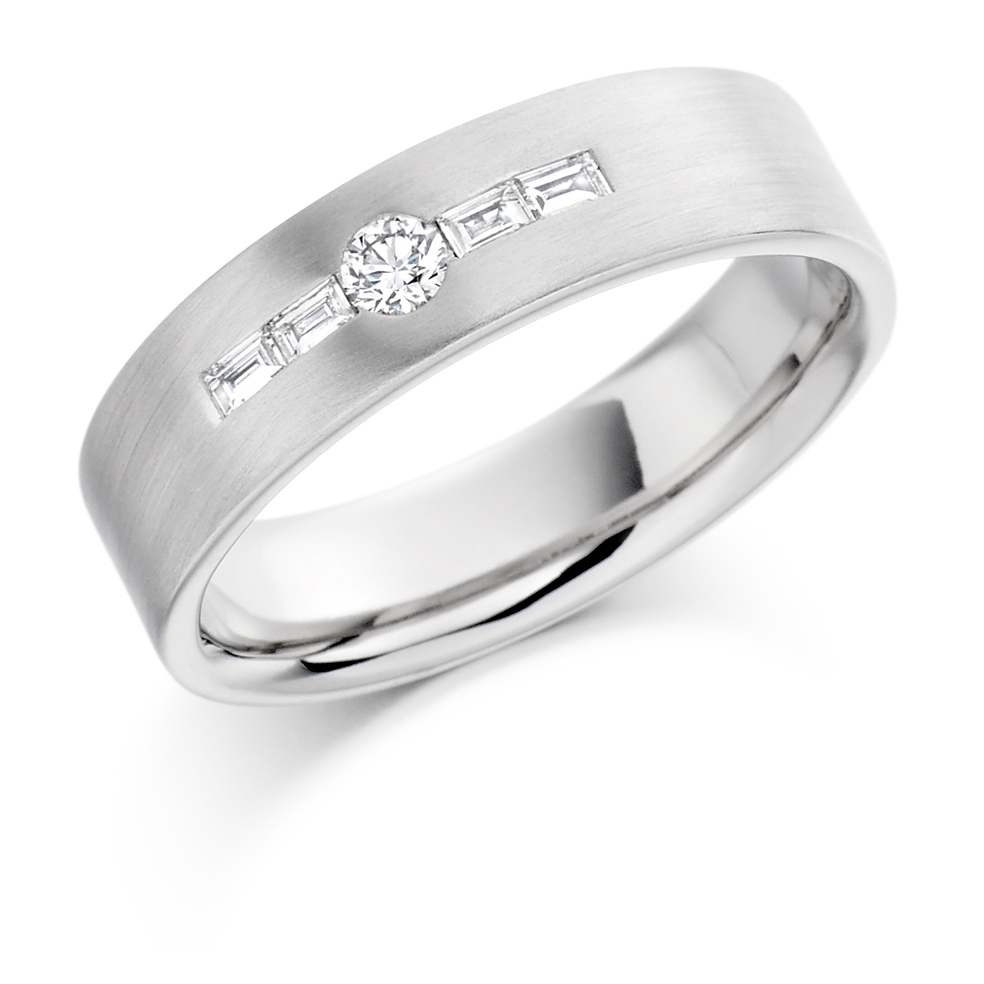 Men's Round and Baguette Diamond Ring
