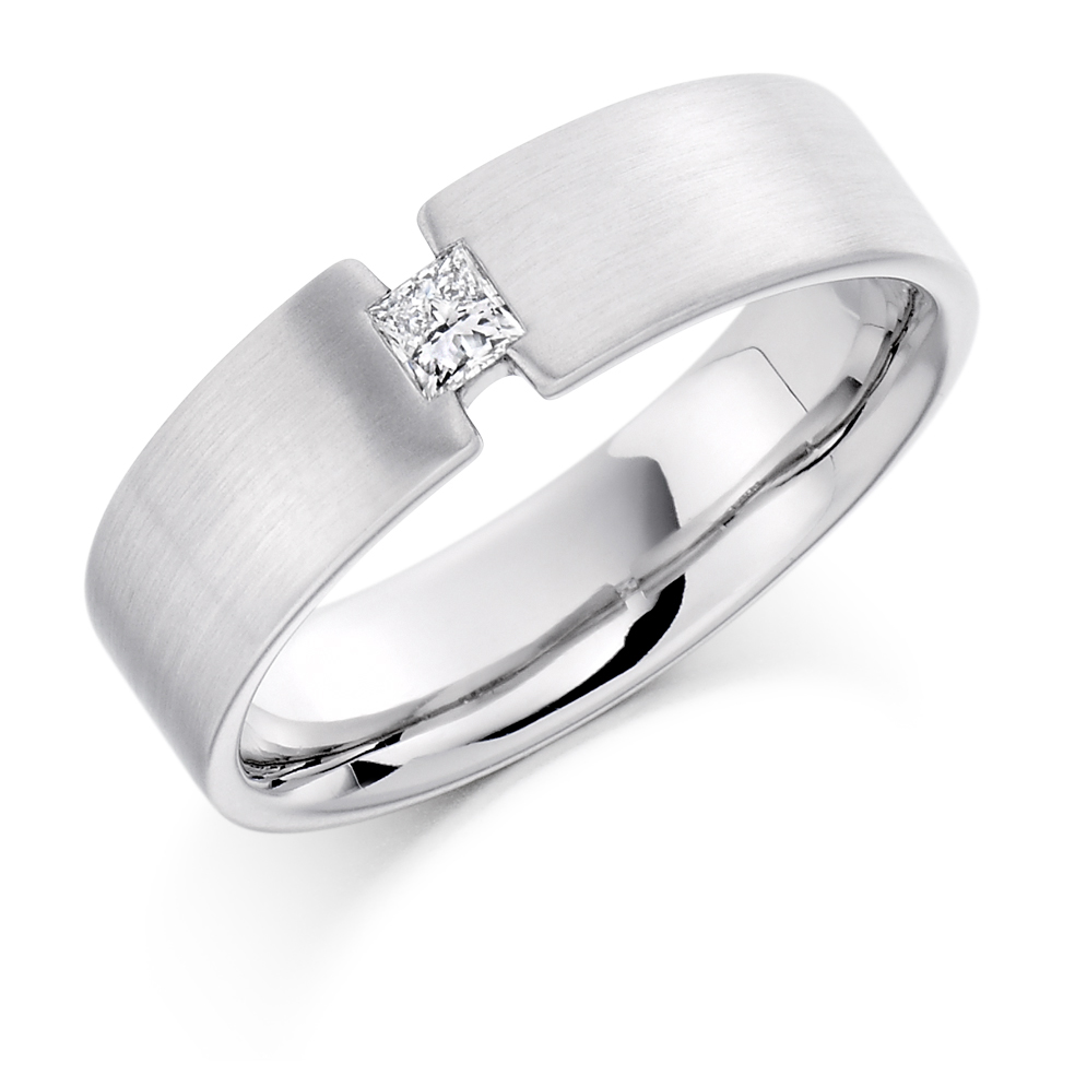 Men's Princess Cut Tension Style Diamond Ring