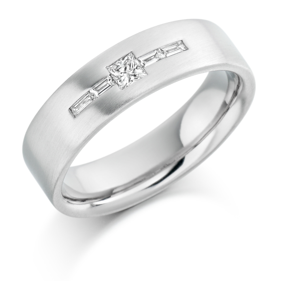 Men's Princess and Baguette Diamond Ring
