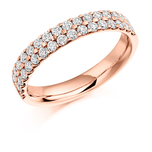Half Set Double Row Claw Diamond Ring