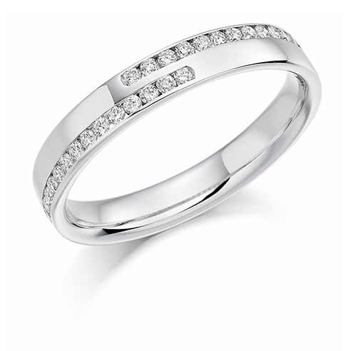 Offset Double Channel Diamond Ring