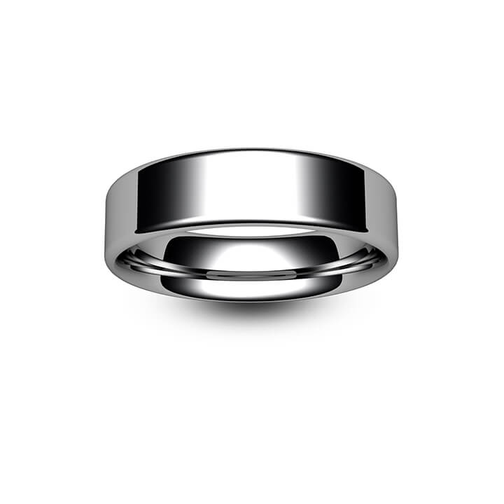 9ct White Gold Modern Flat Court Wedding Ring