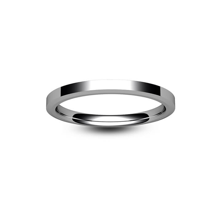 18ct White Gold Chamfered Edge Wedding Ring