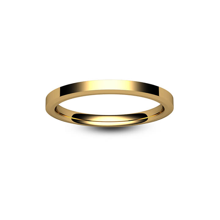 18ct Rose Gold Chamfered Edge Wedding Ring