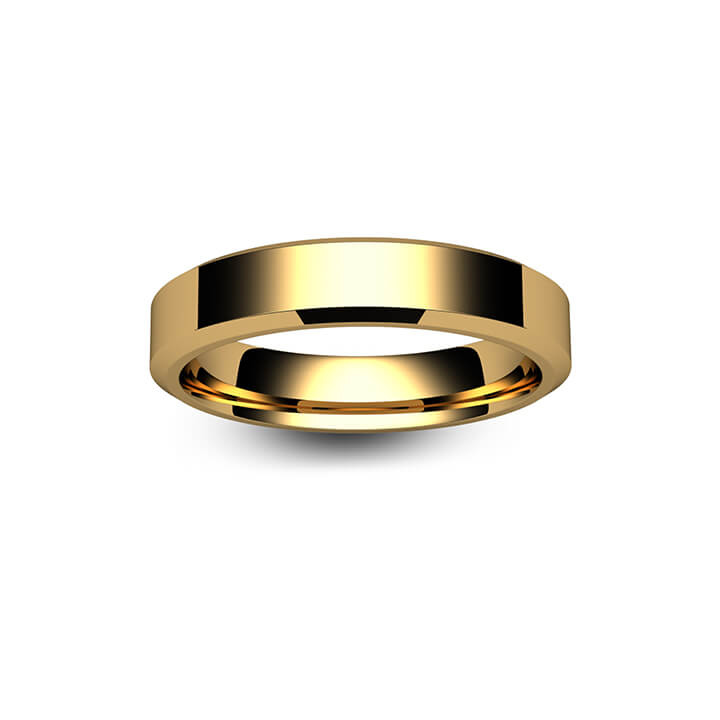 18ct Yellow Gold Chamfered Edge Wedding Ring