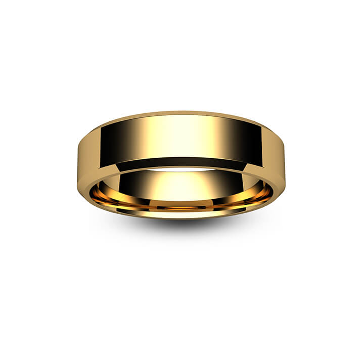 9ct Rose Gold Chamfered Edge Wedding Ring
