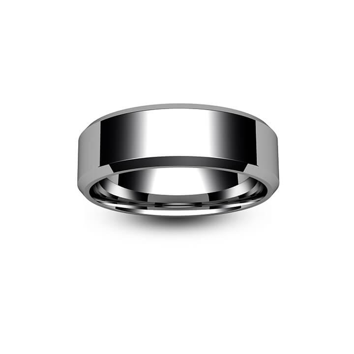 Palladium Chamfered Edge Wedding Ring