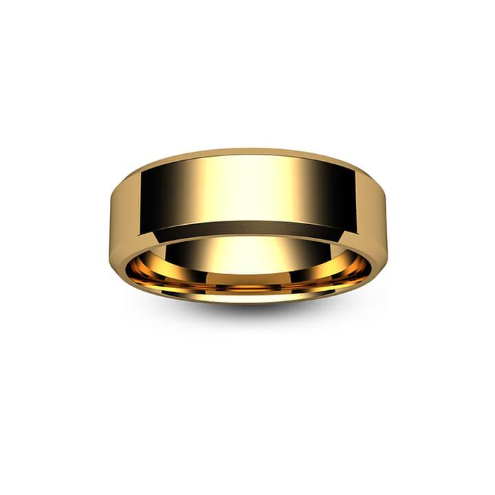 18ct Yellow Gold Chamfered Edge Wedding Ring