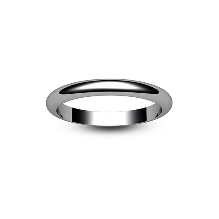 Platinum D Shape Wedding Ring