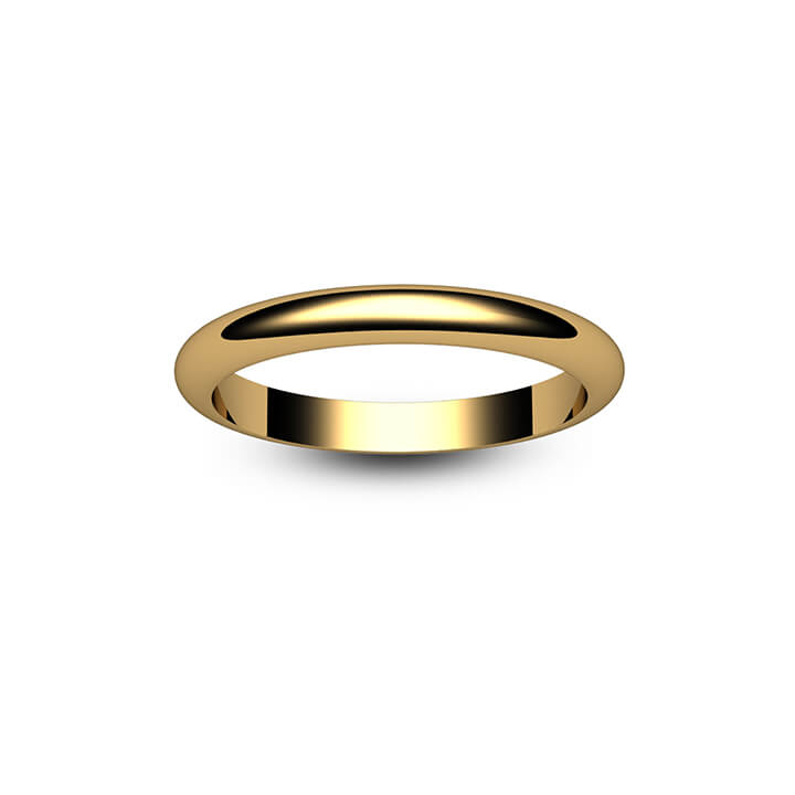9ct Yellow Gold D Shape Wedding Ring