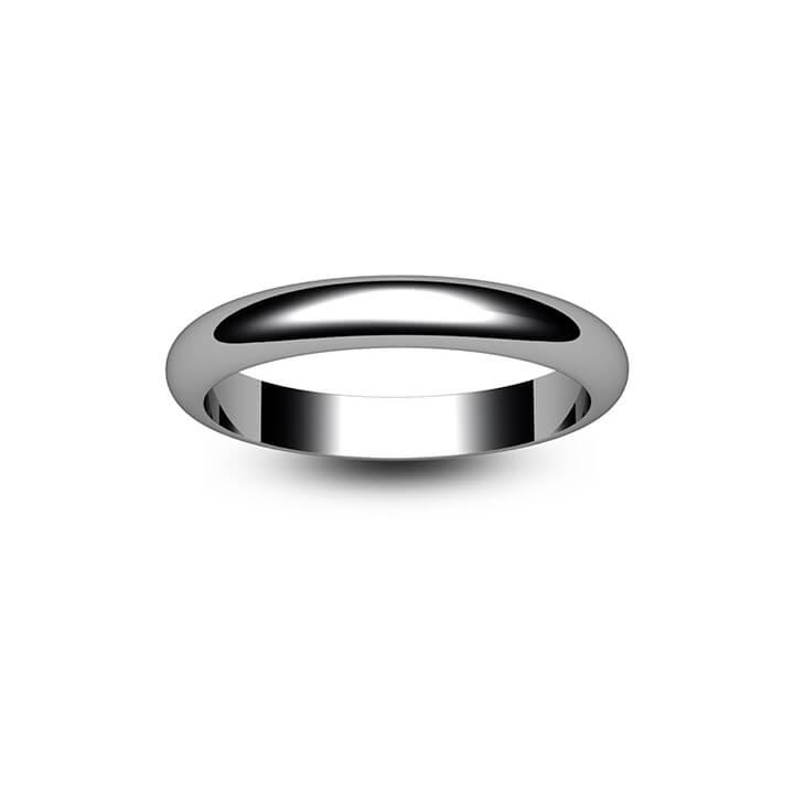 Palladium D Shape Wedding Ring