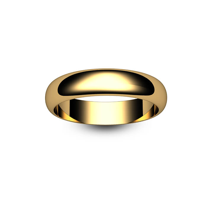 18ct Yellow Gold D Shape Wedding Ring