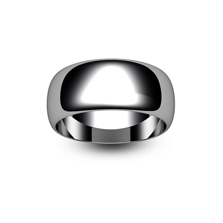 9ct White Gold D Shape Wedding Ring