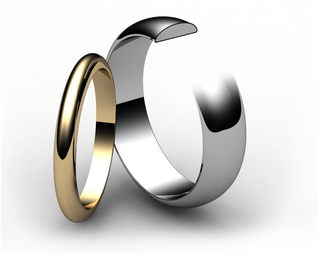 Palladium D Shape Wedding Ring