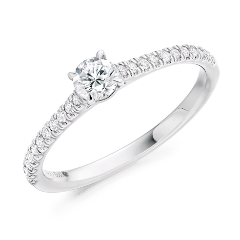 Round Brilliant Shoulder Set Engagement Ring