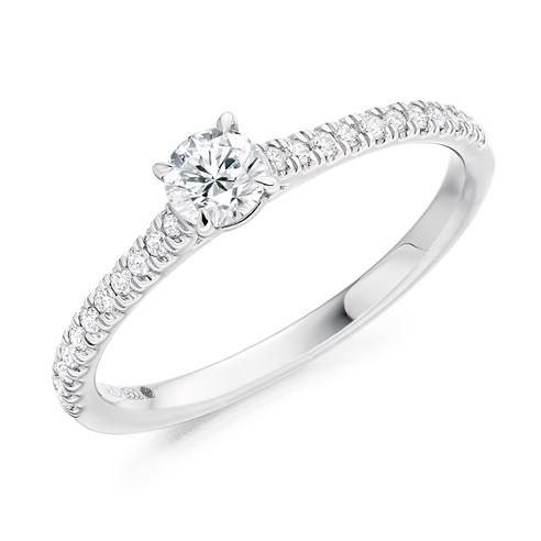 Round Brilliant Shoulder Set Engagement Ring