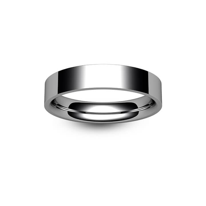 9ct White Gold Flat Court Wedding Ring