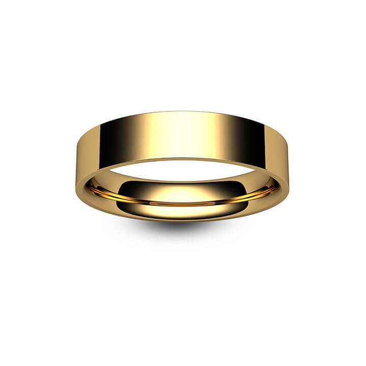 9ct Yellow Gold Flat Court Wedding Ring