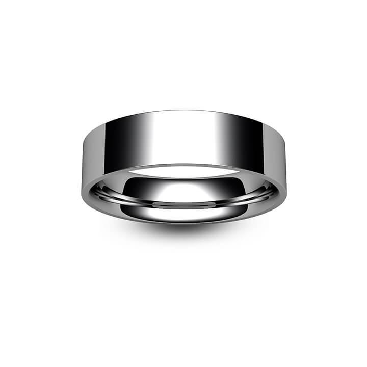 18ct White Gold Flat Court Wedding Ring