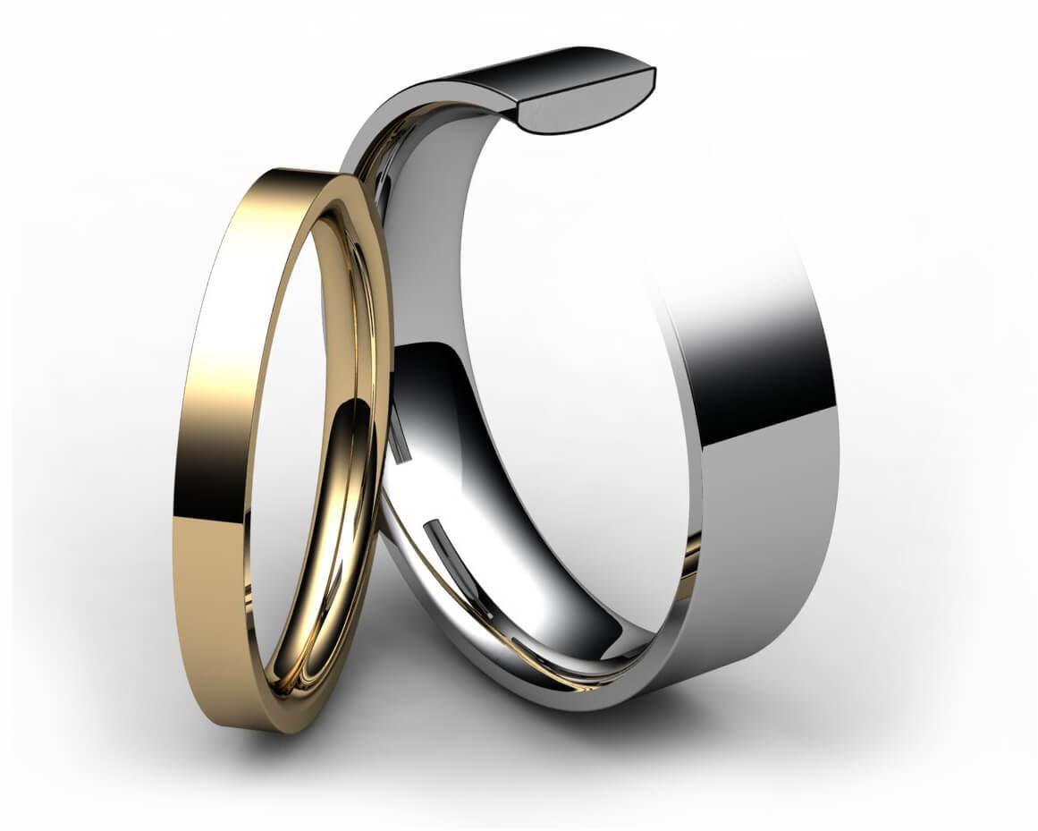 9ct Yellow Gold Flat Court Wedding Ring
