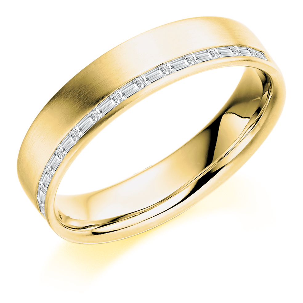 Men's Baguette Cut Offset Diamond Ring