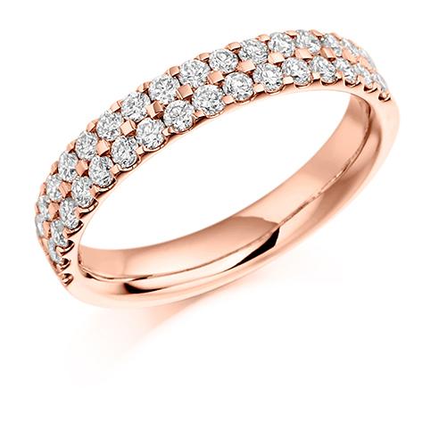 Half Set Double Row Claw Diamond Ring