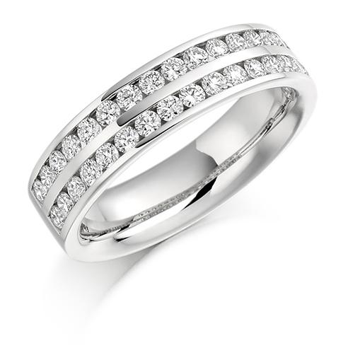 Half Set Double Channel Diamond Ring