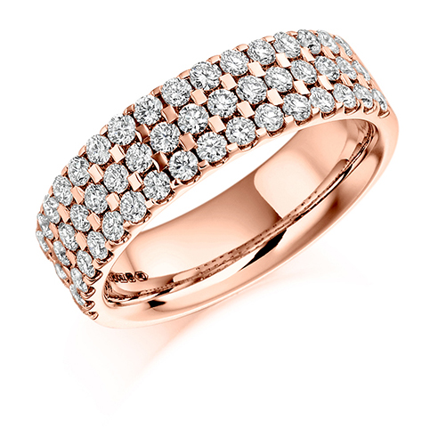Half Set Three Row Diamond Ring