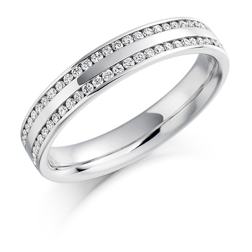 Double Row Half Set Diamond Ring