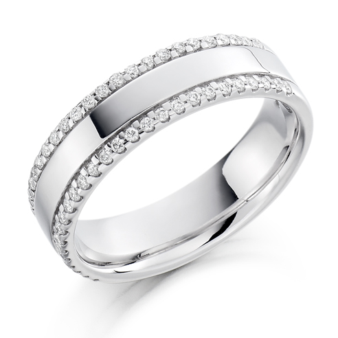 Half Set Double Edged Diamond Ring