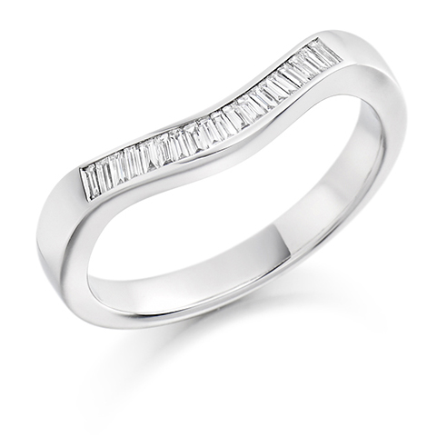 Bauguette Cut Curved Diamond Ring