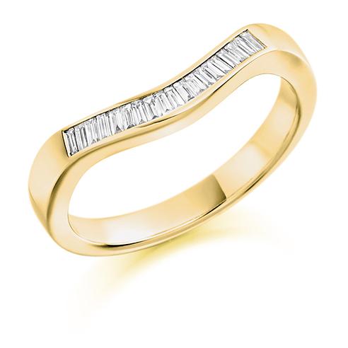 Bauguette Cut Curved Diamond Ring