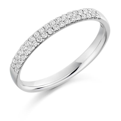 Half Set Carved Claw Diamond Ring