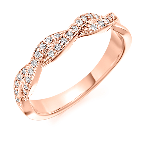 Half Set Crossover Diamond Ring