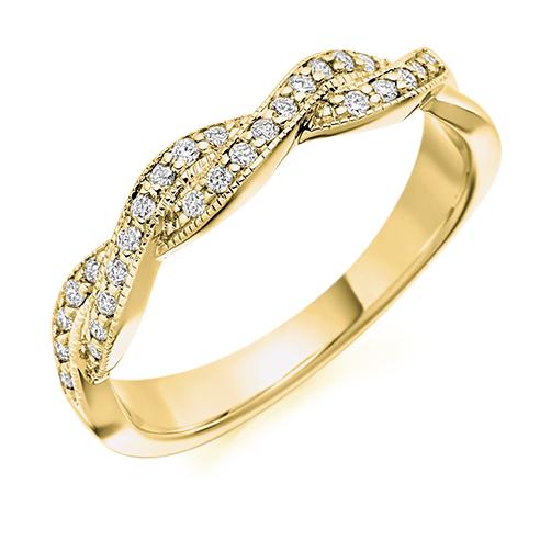 Half Set Crossover Diamond Ring
