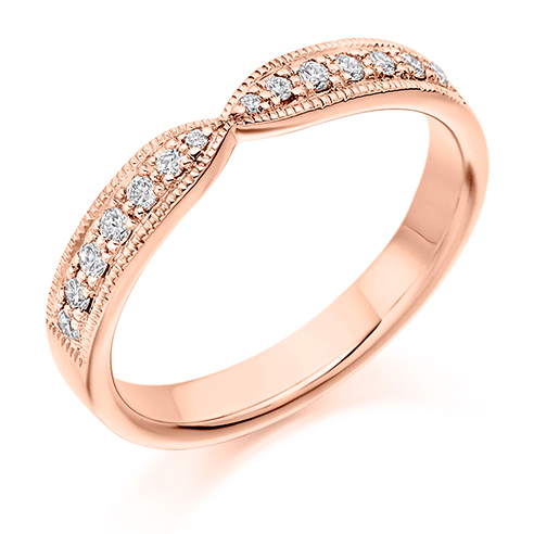 Vintage Grain Set Shaped Diamond Ring