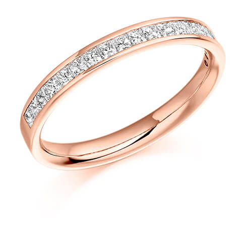 Half Princess Cut Channel Set Diamond Ring