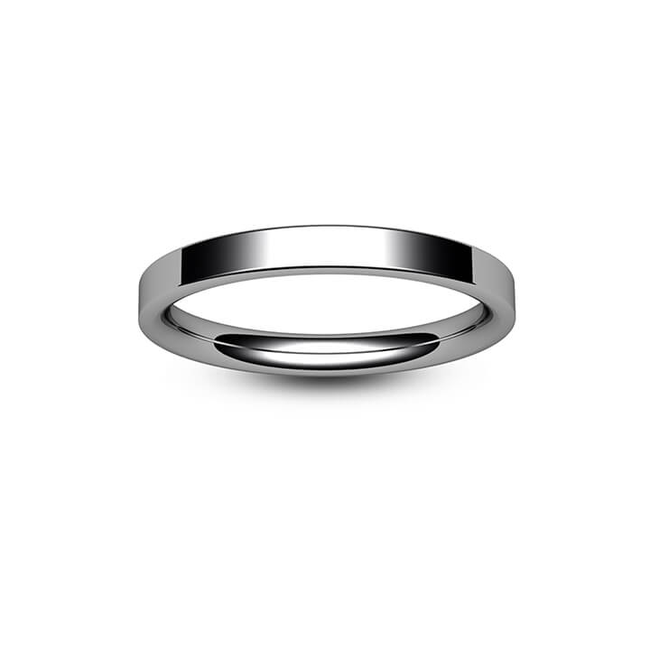 9ct White Gold Modern Flat Court Wedding Ring