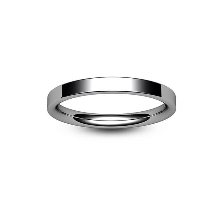 18ct White Gold Modern Flat Court Wedding Ring