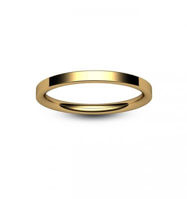 18ct Yellow Gold Modern Flat Court Wedding Ring