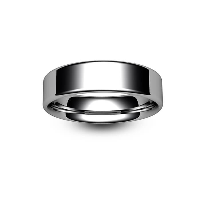 Platinum Modern Flat Court Wedding Ring