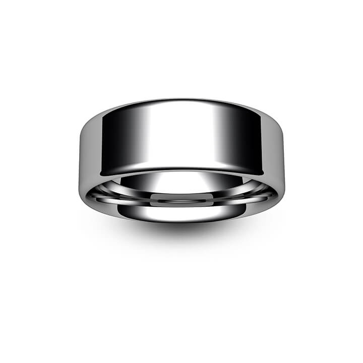 18ct White Gold Modern Flat Court Wedding Ring