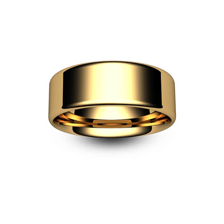 18ct Yellow Gold Modern Flat Court Wedding Ring