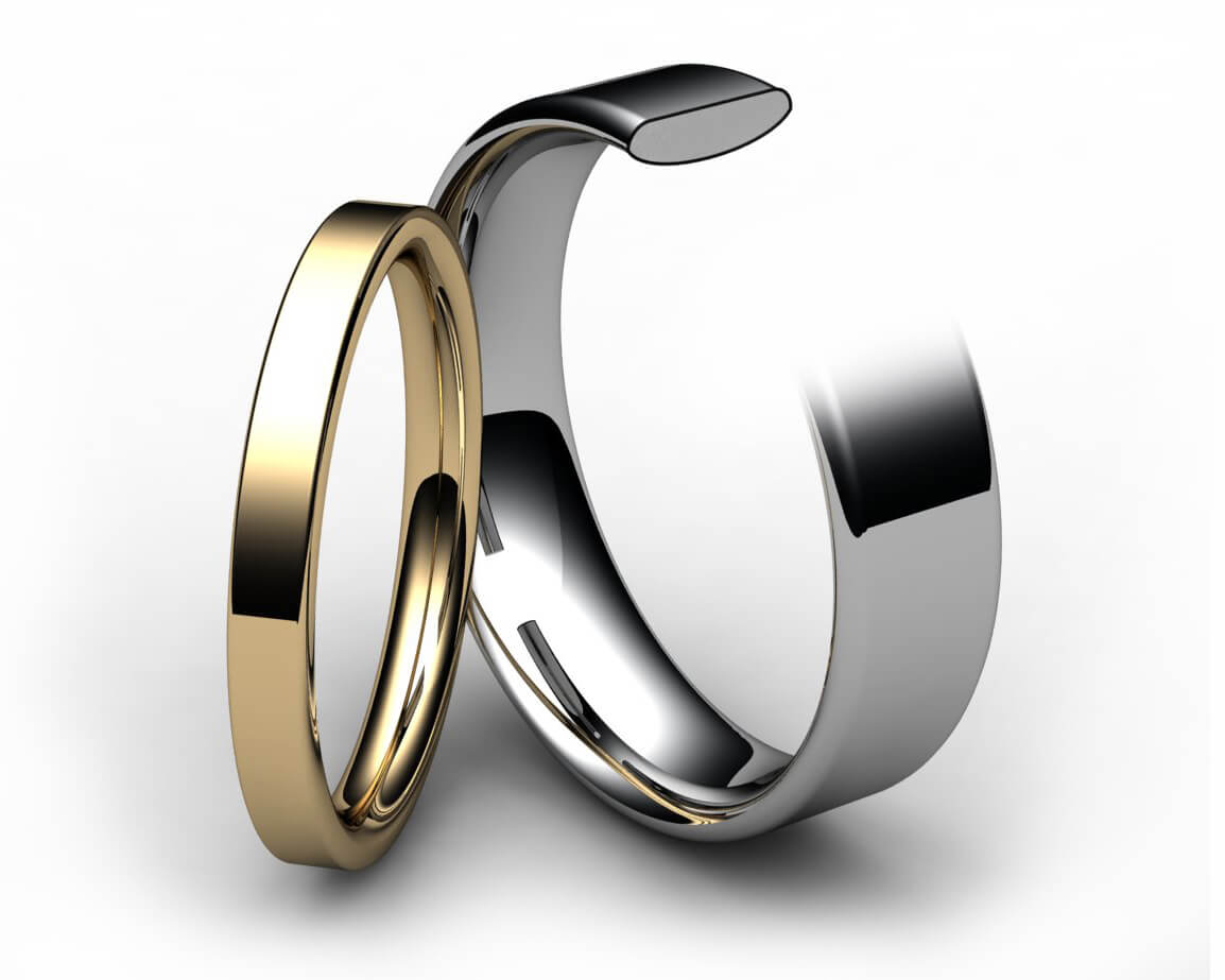 9ct Yellow Gold Modern Flat Court Wedding Ring