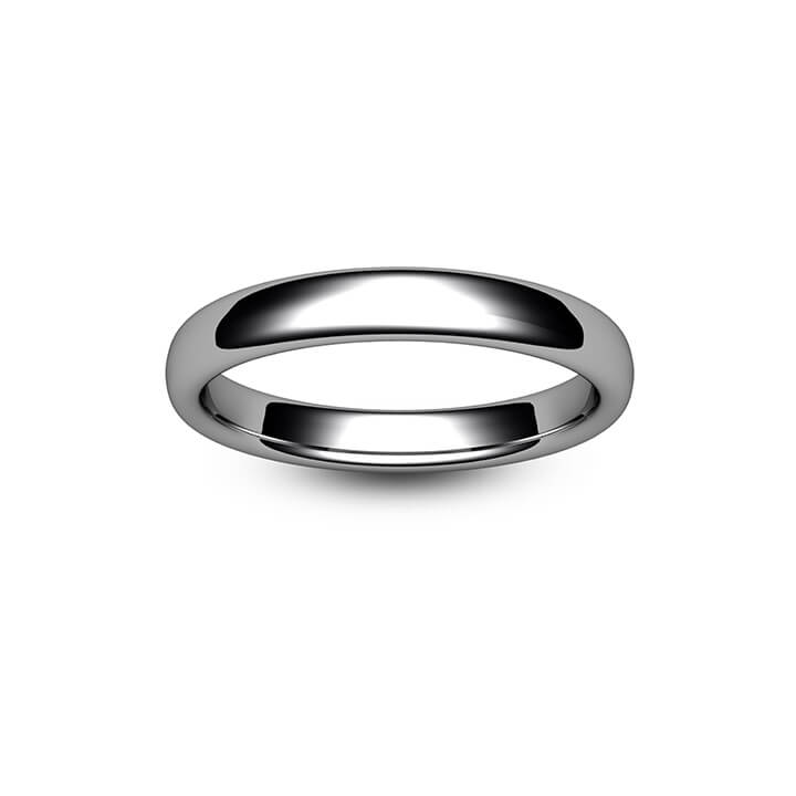 18ct White Gold Slight Court Wedding Ring